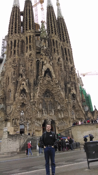 Me in front of the Sagrada Família in Barcelona.