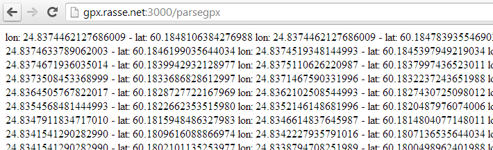 Screenshot 2: Parsing the GPX file